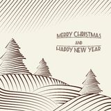 Engraving of Christmas trees on the hills. Vector illustration Royalty Free Stock Photography