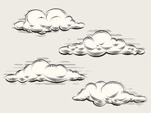 Engraving clouds Royalty Free Stock Photos
