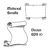 Engraving of empty medieval scroll Royalty Free Stock Photos
