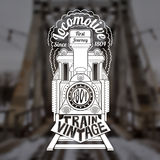Engraving face of old locomotive or train with text Royalty Free Stock Image