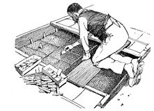 Engraving of farmer planting seeds in a small greenhouse. Horticulture engraving, farmer hand sowing plants in a small greenhouse Royalty Free Stock Photography
