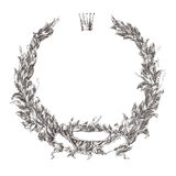 Engraving floral wreath laurel wreath  illustration Royalty Free Stock Photo