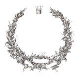 Engraving floral wreath laurel wreath  illustration Royalty Free Stock Photo