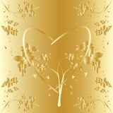 Engraving on gold with the floral pattern Royalty Free Stock Photography