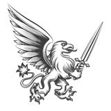 Engraving griffin with sword Royalty Free Stock Photo