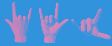 Engraving hand gesture I love you illustration Royalty Free Stock Images