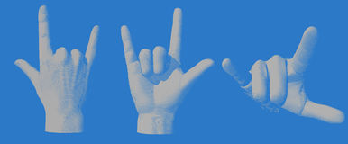 Engraving hand gesture I love you illustration Stock Photography