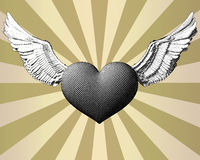 Engraving heart and wing on shining BG Royalty Free Stock Images