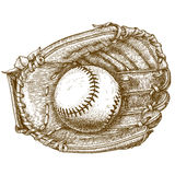Engraving illustration of baseball glove and ball vector illustration