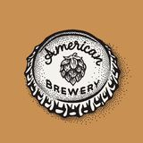 Craft beer bottle cap with brewing inscription in vintage style Royalty Free Stock Image