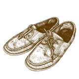 Engraving  illustration of old shoes Stock Photo