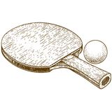 Engraving illustration of ping pong table tennis racket and ball. Vector antique engraving illustration of ping pong table tennis racket and ball isolated on Royalty Free Stock Images
