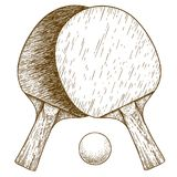 Engraving illustration of ping pong table tennis two rackets and royalty free illustration