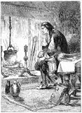 James Watt studying the power of steam. Engraving of James Watt studying the power of steam, which led to his improvement of steam power and the rise of the stock illustration