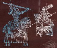 Engraving. Knight Tournament. Battling knights on horseback. Woodcut Royalty Free Stock Photography
