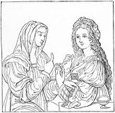 Modesty and vanity, by Leonardo da Vinci. Engraving of Leonardo da Vinci`s Modesty and Vanity. From an original engraving in the Historian`s History of the World Stock Photo