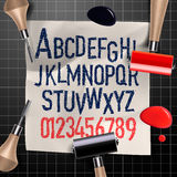 Engraving letters and numbers. Alphabet for creating vintage design, vector illustration royalty free illustration