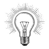 Engraving light bulb Royalty Free Stock Images