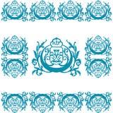 Engraving Logo Ornament. Round Floral Element Pattern Wallpaper Engravings Seamless Logo Ornament Stock Photo