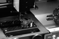 Engraving. Love padlocks engraving. Engraver in work. Black and white Royalty Free Stock Photography