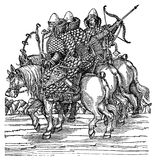 Engraving, medieval Moscow warriors Royalty Free Stock Photography