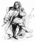Nicolas Boileau, author. Engraving of Nicolas Boileau 1636 - 1711, French poet, author and contemporary of Jean Racine Royalty Free Stock Photos