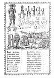 Engraving from the old ABC-book of the 1600s. Engraving. The ABC-book of Carion Istomin of 1694. Moscow stock illustration