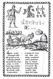 Engraving from the old ABC-book of the 1600s. Engraving. The ABC-book of Carion Istomin of 1694. Moscow vector illustration