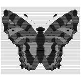 Engraving of the silhouette of a butterfly with vertical noises. Vector illustration. Royalty Free Stock Image