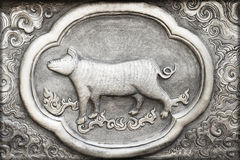 Engraving of the silver value, Zodiac symbol Stock Image