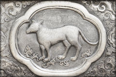 Engraving of the silver value, Zodiac symbol Royalty Free Stock Image
