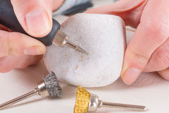 Engraving stone with rotary multi tool Stock Photography