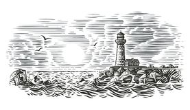 Engraving style illustration of beacon. Vector. For print or web stock illustration