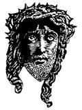 Engraving style portrait of Jesus Christ vector illustration