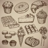 Engraving a sweet set: muffin, donut, croissant, waffles, cheesecake, capcake, macaroons, chocolate bar, two chocolate. Sweets, ice cream in a waffle cup, a Stock Photos