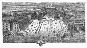 Engraving of Versailles on 1715 Stock Photography