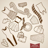 Engraving vintage drawn vector dress skirt bag clo Royalty Free Stock Images