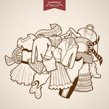 Engraving vintage drawn vector dress skirt bag clo Royalty Free Stock Image