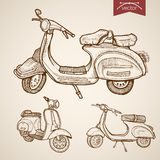 Engraving vintage drawn vector moped scooter trans. Engraving vintage hand drawn vector low speed moped, scooter collection. Pencil Sketch city courier delivery Stock Image