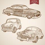 Engraving vintage hand drawn retro car vector tran Stock Photos