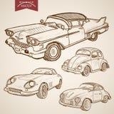 Engraving vintage hand drawn retro car vector tran royalty free illustration