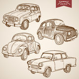 Engraving vintage hand drawn retro car vector tran Royalty Free Stock Photography
