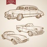 Engraving vintage hand drawn retro car vector tran Royalty Free Stock Photo