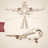 Engraving vintage hand drawn vector air transport Stock Photos