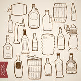 Engraving vintage hand drawn vector bottle wood ca Stock Photography