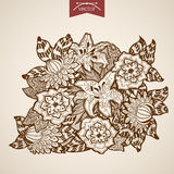 Engraving vintage hand drawn vector flower shop fl Royalty Free Stock Photo