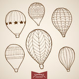 Engraving vintage hand drawn vector flying balloon Royalty Free Stock Image