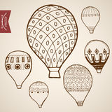 Engraving vintage hand drawn vector flying balloon Royalty Free Stock Photo