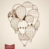 Engraving vintage hand drawn vector flying balloon Stock Image