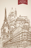 Engraving vintage hand drawn vector France Paris t. Engraving vintage hand drawn vector Paris, France travel. Pencil Sketch Eiffel Tower, Notre Dame de Paris Stock Photo